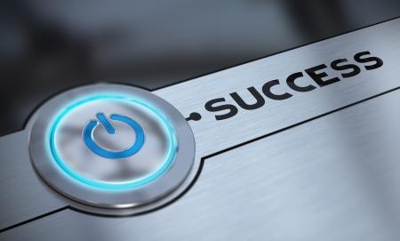self improvement: Success push button with blue tone over aluminum background blur effect, 3D render