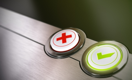 quality questions: Validation buttons system with true or false options with green light and blur effect