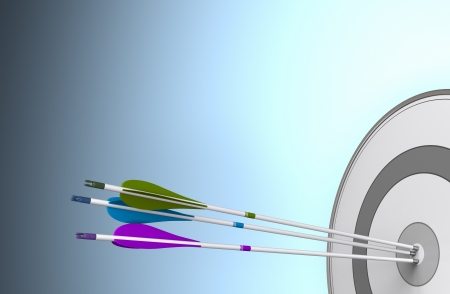 Three arrows hitting the center of a target  Image over a blue background with free space for text Stok Fotoğraf