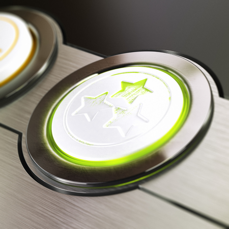 evaluating: Customer satisfaction or experience concept, based on three stars button used and scratched, Conceptual 3D render symbol of excellent top rated product or service  Blur effect