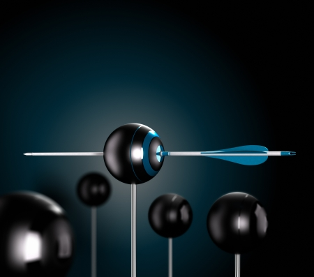 perfection: One blue arrow piercing the center of a ball target over a black background symbol of risk control, Conceptual 3D render image