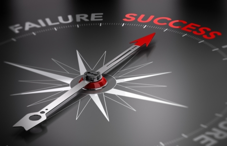 succeeding: Conceptual 3D render image with depth of field blur effect  Compass with the needle pointing the word success, Concept of will and motivation