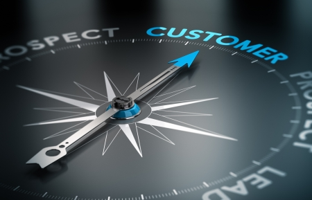 prospect: Conceptual 3D render image with depth of field blur effect  Compass with the needle pointing the word customer, Concept of crm and lead conversion   Stock Photo