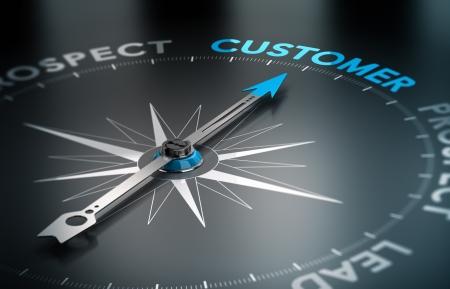 Concettuale immagine di rendering 3D con la profondità di campo effetto sfocato bussola con l'ago rivolto verso il cliente parola, il concetto di CRM e la conversione di lead