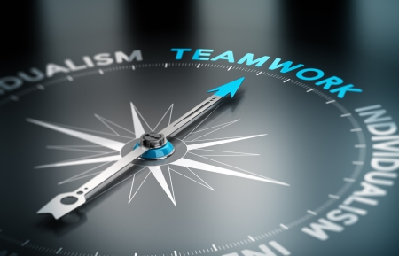 conceptual image: Conceptual 3D render image with depth of field blur effect  Compass with the needle pointing the word teamwork, Concept of unity versus individualism   Stock Photo