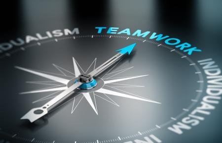 Conceptuele afbeelding 3D render met scherptediepte blur effect Kompas met de naald naar het woord teamwork, Concept van eenheid versus individualisme Stockfoto
