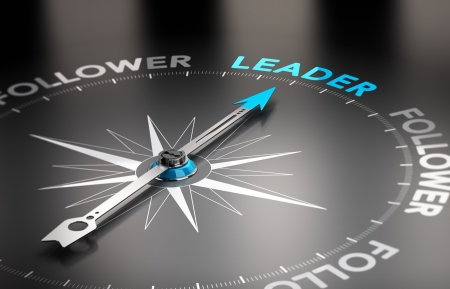 leading: Word leader with a compass needle  Conceptual 3D render image with depth of field blur effect   Stock Photo