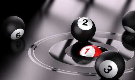 Conceptual 3D render image with depth of field blur effect  Red ball with the number one in the center of bullseye with black balls around the target  photo