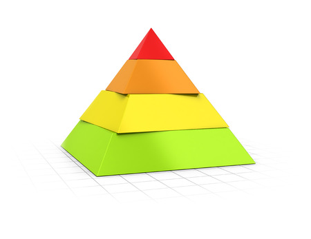 Conceptual 3D render of a four layers pyramid over perspective background.