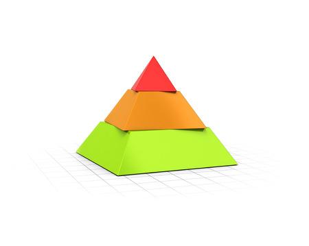 개념적 3D 원근 배경 위에 세 계층 피라미드의 렌더링.