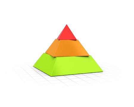Conceptual 3D render of a three layers pyramid over perspective background.  Imagens