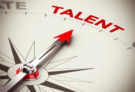 talents: Image 3D conceptuel rendu avec la profondeur de champ flou effet aiguille de la boussole pointant le mot talent, le concept de recrutement ou chasseur de t�te Banque d'images