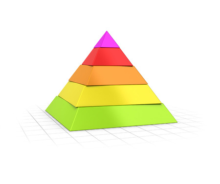 layers levels: Conceptual 3D render of a Five layers pyramid over perspective background