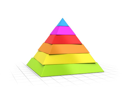 pyramidal: Conceptual 3D render of a six layers pyramid over perspective background