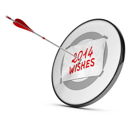 hits: One arrow hits the center of a target with a sheet of paper with 2014 wishes handwritten, red and gray colors over white background