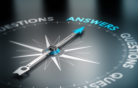 Realistic conceptual 3D render image with depth of field blur effect. Compass with the needle pointing the word answer, black background. Concept for business solutions.