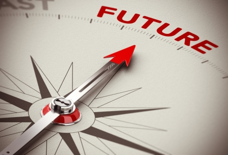 vision futuro: Imagen 3D conceptual realista con la profundidad del efecto de desenfoque de campo. Br�jula con la aguja hacia la palabra futuro, papel de antecedentes. Concepto de visi�n empresarial o soluciones perspectiva.