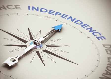 self sufficient: Conceptual 3D render image with depth of field blur effect  Compass needle pointing the blue word independence over natural paper background