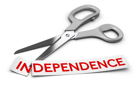 prefix: Word independence cut in two parts in and dependence  Scissors at the background 3D render over white, Concept of drug dependency disorder