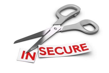 prefix: Word insecure cut in two parts in and secure  Scissors at the background 3D render over white, Concept of security Stock Photo