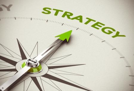 Conceptueel beeld 3D geef met scherptediepte blur effect Kompas naald naar het groene woord strategie over natuurlijke papier achtergrond Stockfoto