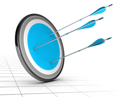 achievable: Three arrows hits the center of a target with a large blue center, white background with perspective  Achieving simple goal concept  Stock Photo