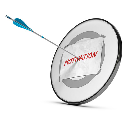 One arrow hits the center of a target with a sheet of paper with the word motivation handwritten on it, red, blue and gray colors over white background  Motivational conceptual 3D render  photo