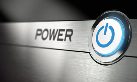 Computer power button with metal background  Realistic 3D render with blur effect Stock Photo