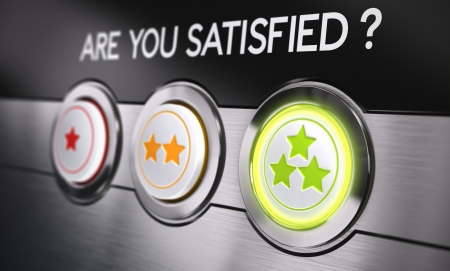 satisfied: Three buttons from one to three stars with the text are you satisfied  Conceptual 3D render for customer satisfaction feedback