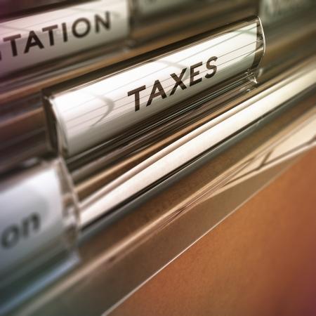 ビンテージ スタイルの税フォルダーぼかし効果概念金融 pupose のため