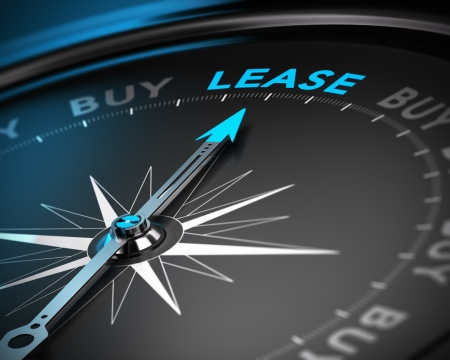 Conceptual 3D render of a compass with the needle pointing the word lease, blue and black tones with blur effect  Concept of leasing versus buying a product