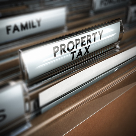 tax bills: Files with the text property tax written on the tab, close up and blur effect  Realistic 3D render
