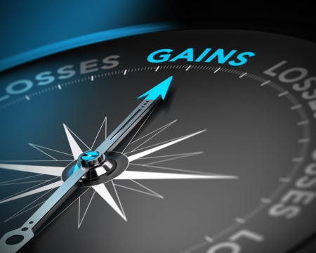 wealth: Financial consulting concept. Compass needle pointing the word gains over black background with blur effect Stock Photo