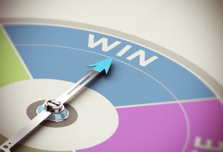 Winning concept. Compass needle pointing the word win over paper background with blur effect Stock Photo - 24207741