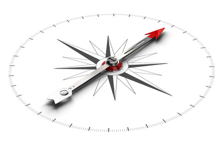 Perspective illustration of a compass over white background, symbol of orientation and good direction.