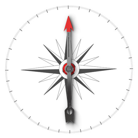 magnetic north: Top view illustration of a compass over white background, symbol of orientation and good direction.