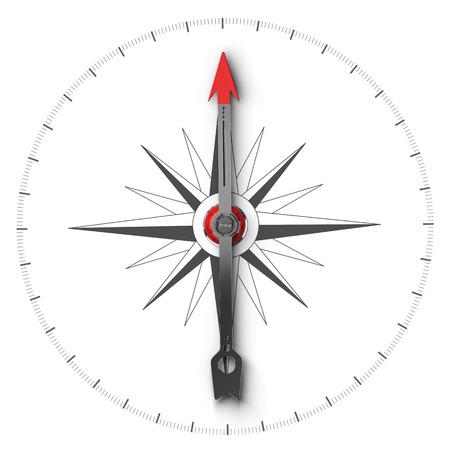 norte: Vista superior de ilustración de una brújula sobre fondo blanco, símbolo de la orientación y la buena dirección.