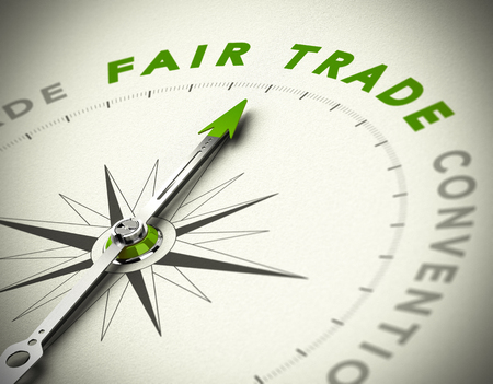 fair trade: Realistic 3D concept of sustainability. Compass needle pointing the green word fair trade over a paper background with blur effect. Conceptual image.