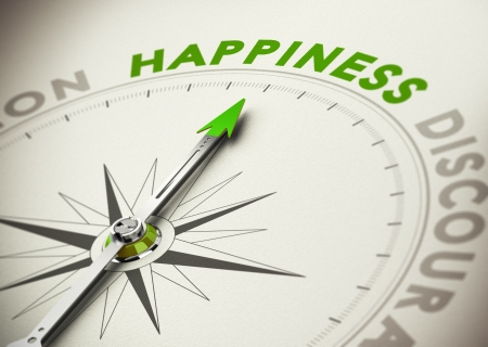 happiness: Compass needle pointing the word happiness concept of well-beign and motivation Stock Photo