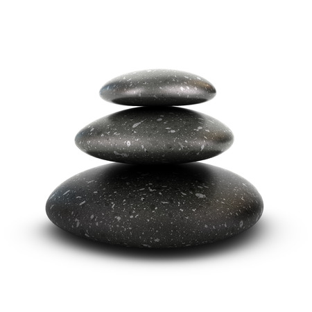 Three stones stacked over white background, balancing pebbles. 3D render symbol of relaxation, serenity and harmony. photo