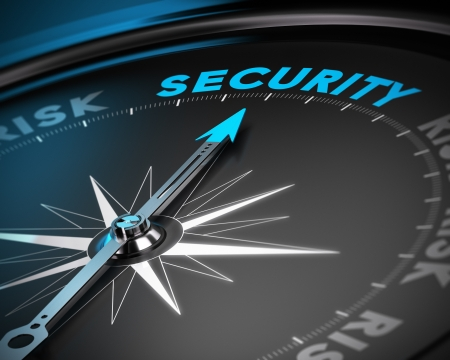 security: Compass needle pointing the word security  Concept image blue and black tones