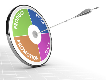 market place: Marketing mix concept consisting of a target and one arrow in the center with the 4P, product, price, place and promotion around it