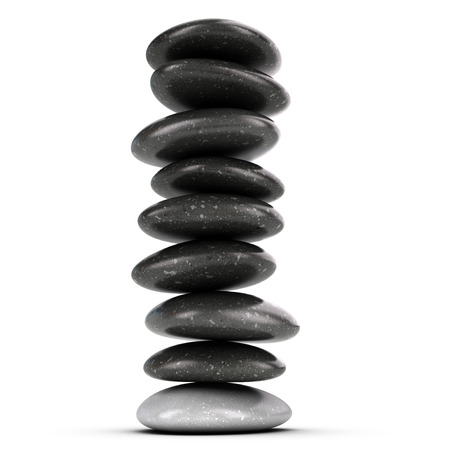 high spirits: Nine pebbles stacked over white background, balancing stones  3D render symbol of meditation and zen