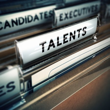 employment agency: Focus on folder tab with the word talent, realistic 3D render with blur effect, concept for recruitment agency