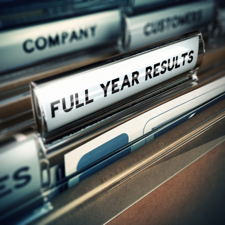 year financial statements: Folder tab with the text full year results with focus on the word and blur effect. Concept for company report.
