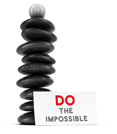 will power: Nine pebbles plus a spherical stone stacked over white background with a label where it is written do the impossible, balancing stones and motivational quote. 3D render symbol of will power and achieving goal.