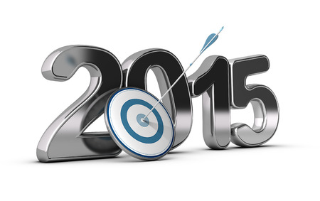 3D metallic Year 2015 with a target at the foreground with an arrow hitting the center, concept image for achieving business objectives in two thousand fifteen.  photo