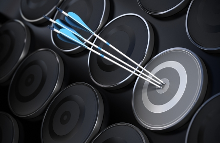 financial target: Background made with many targets, some are black and one is grey with three blue arrows in the center, conceptual background suitable for business purpose. Stock Photo