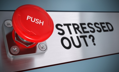 health management: Stressed out text with urgency push button with blur effect, Concept for stress management. Stock Photo