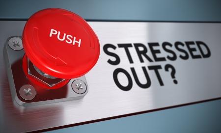 pojem: Vystresovaný textu s tlačítkem naléhavost tlačit efekt rozostření, koncept pro zvládání stresu.
